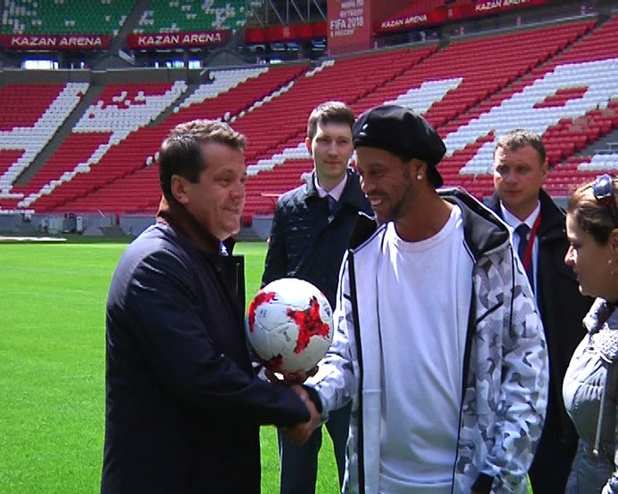 "I. Metshin with Ronaldinho and Okocha walked in the Kazan Kremlin and the stadium ""Kazan Arena"""