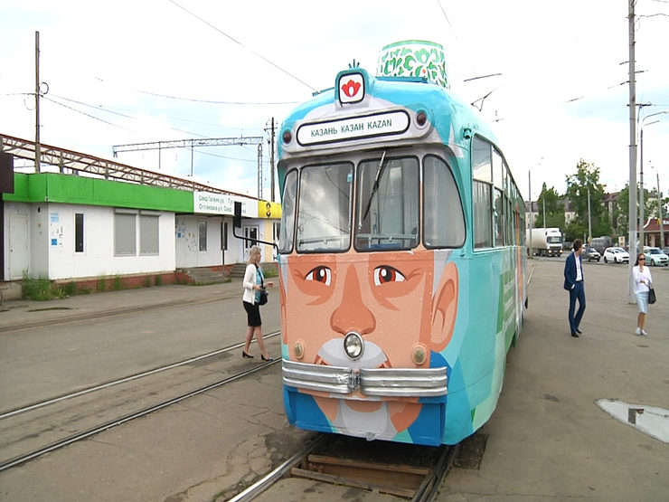 The excursion retro tram was launched in Kazan in the old city