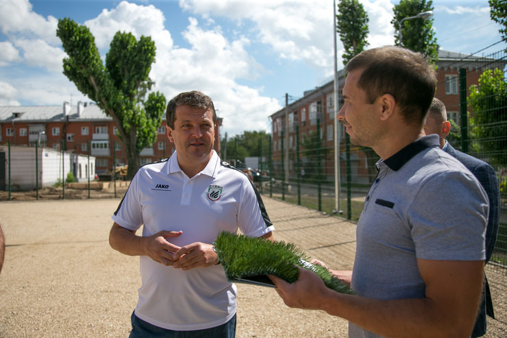 The inspection of the construction process of a football field on Daurskaya street