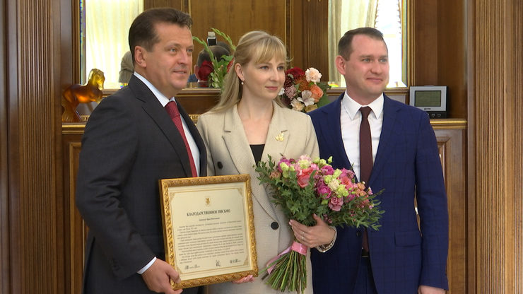 The Mayor of Kazan Ilsur Metshin meets with Maria Golovanova, the finalist of Russia Teacher of the Year contest