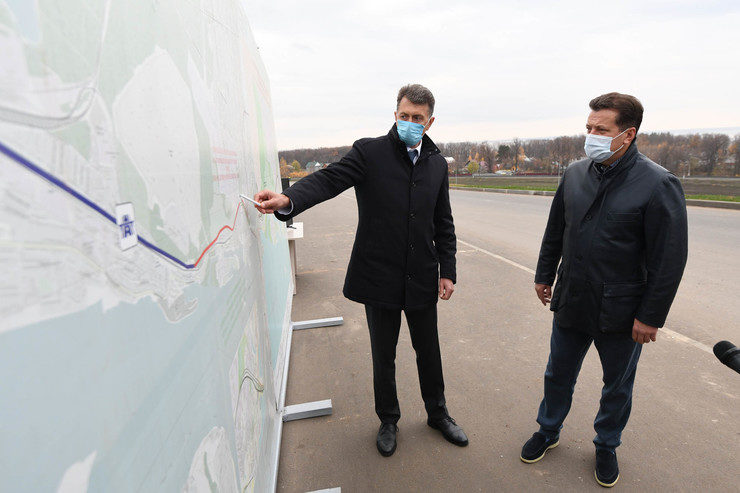The Mayor of Kazan inspects the construction of the Gorky highway relief road